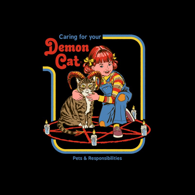 Caring for your Demon Cat Kids Longsleeve T-Shirt by Steven Rhodes
