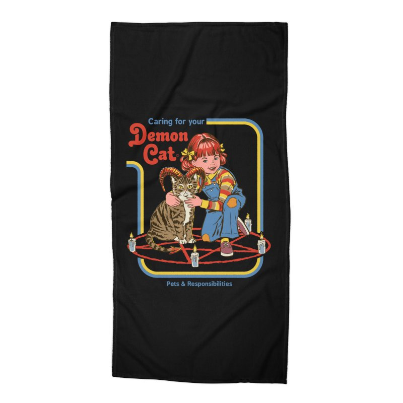 Caring for your Demon Cat Accessories Beach Towel by Steven Rhodes