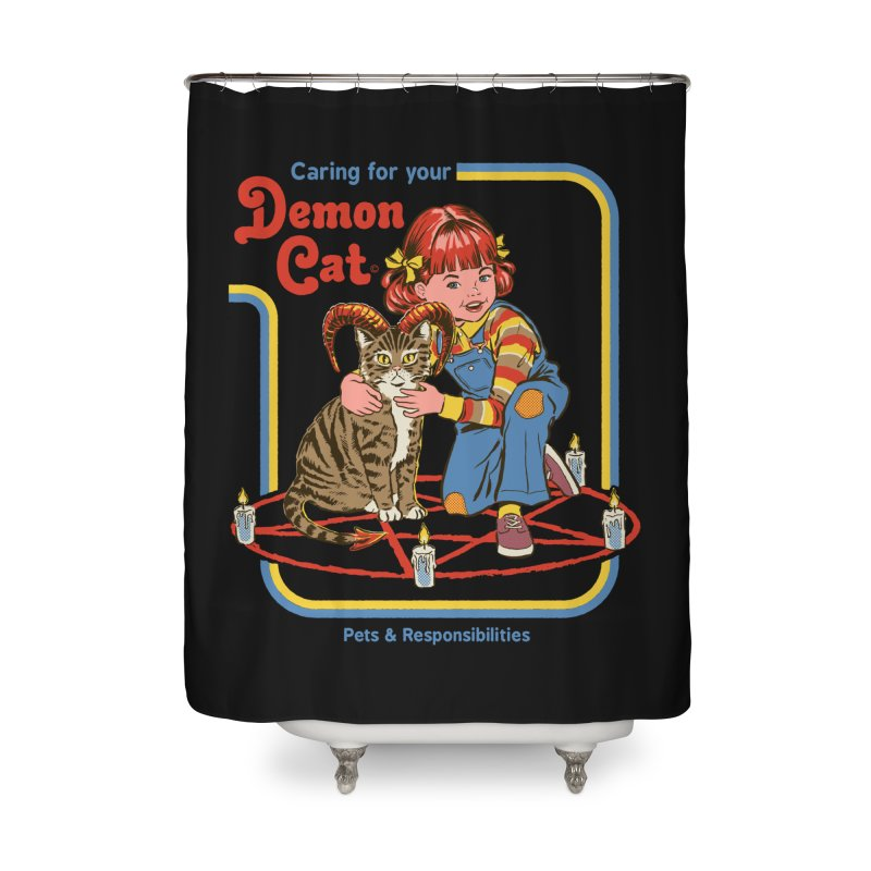Caring for your Demon Cat Home Shower Curtain by Steven Rhodes