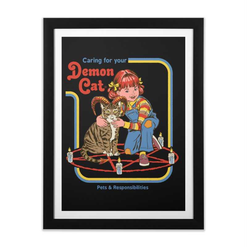 Caring for your Demon Cat Home Framed Fine Art Print by Steven Rhodes