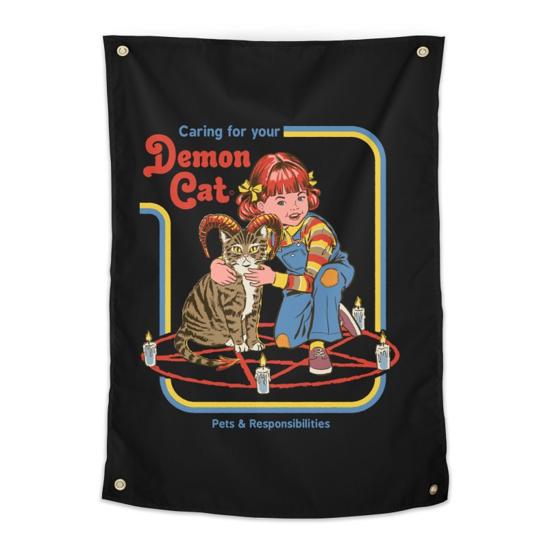 Caring for your Demon Cat Home Tapestry by Steven Rhodes