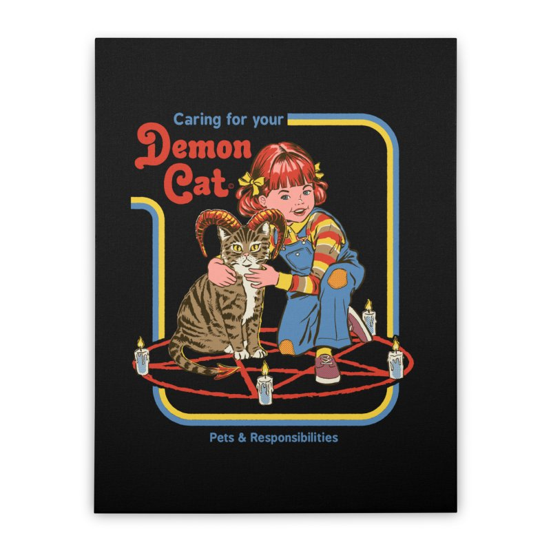 Caring for your Demon Cat Home Stretched Canvas by Steven Rhodes