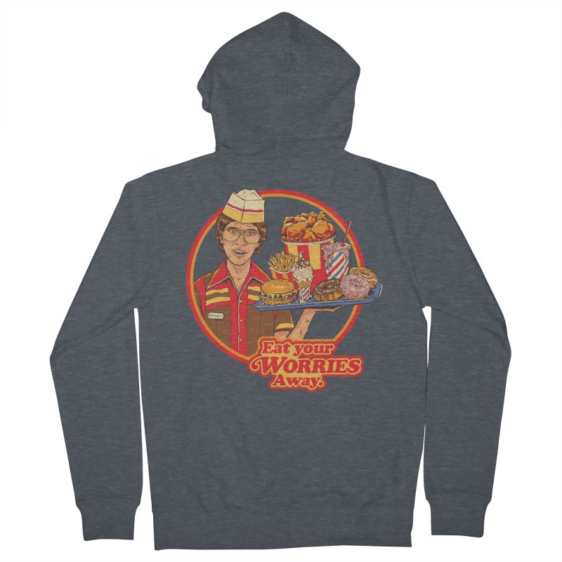 Eat Your Worries Men's French Terry Zip-Up Hoody by Steven Rhodes