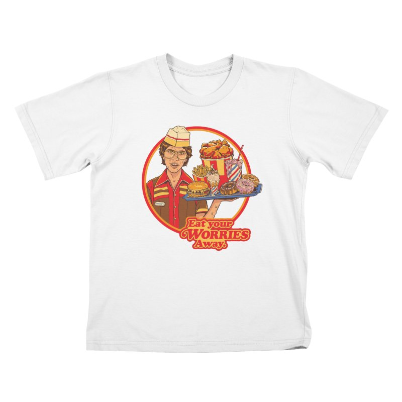 Eat Your Worries Kids T-Shirt by Steven Rhodes