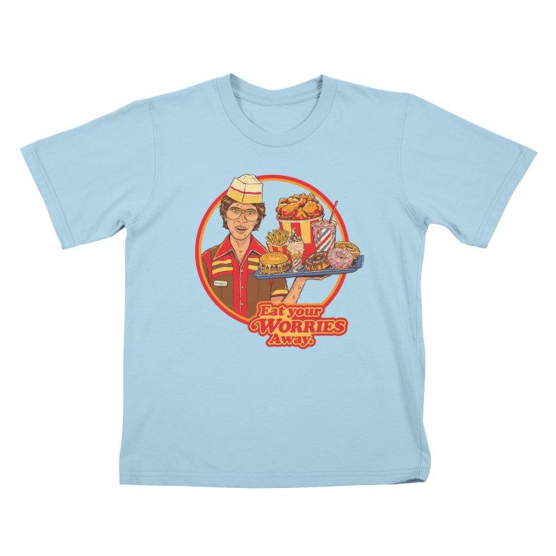 Eat Your Worries Kids T-Shirt by Steven Rhodes