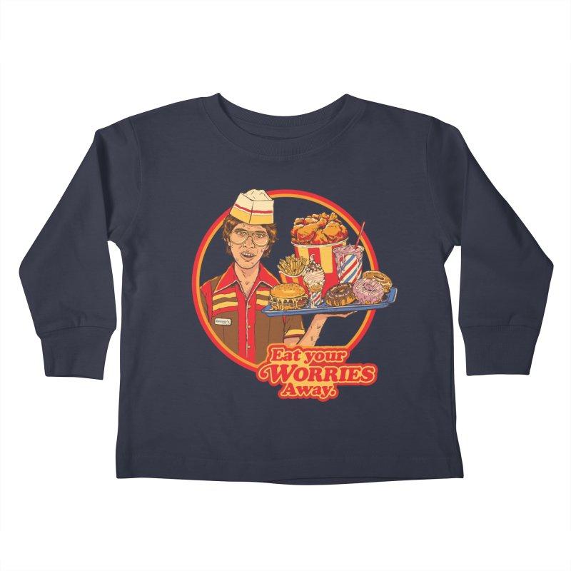 Eat Your Worries Kids Toddler Longsleeve T-Shirt by Steven Rhodes