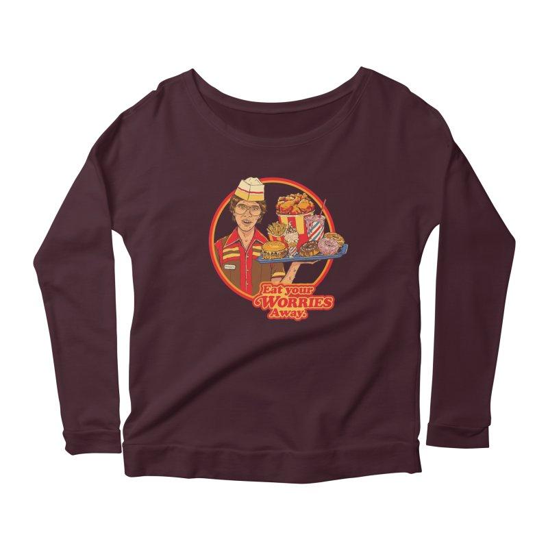 Eat Your Worries Women's Scoop Neck Longsleeve T-Shirt by Steven Rhodes