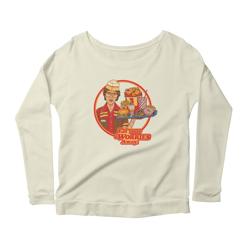 Eat Your Worries Women's Scoop Neck Longsleeve T-Shirt by Steven Rhodes
