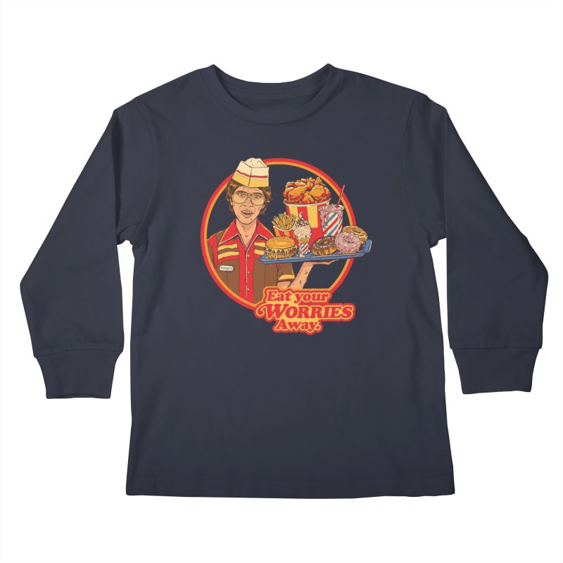 Eat Your Worries Kids Longsleeve T-Shirt by Steven Rhodes