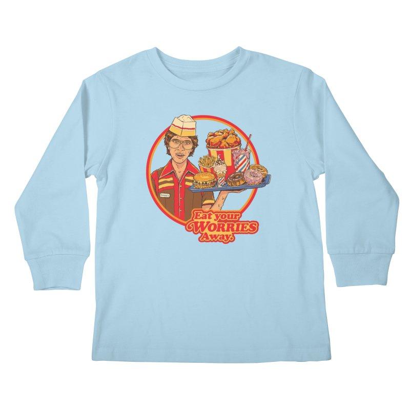 Eat Your Worries Kids Longsleeve T-Shirt by Steven Rhodes