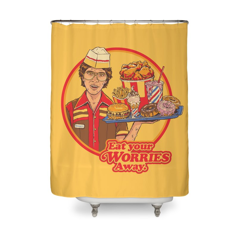 Eat Your Worries Home Shower Curtain by Steven Rhodes