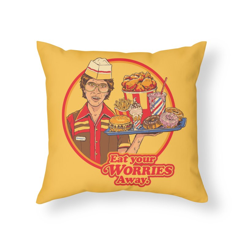 Eat Your Worries Home Throw Pillow by Steven Rhodes