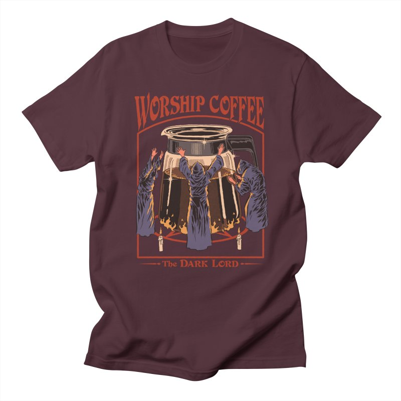 Worship Coffee Men's Regular T-Shirt by Steven Rhodes