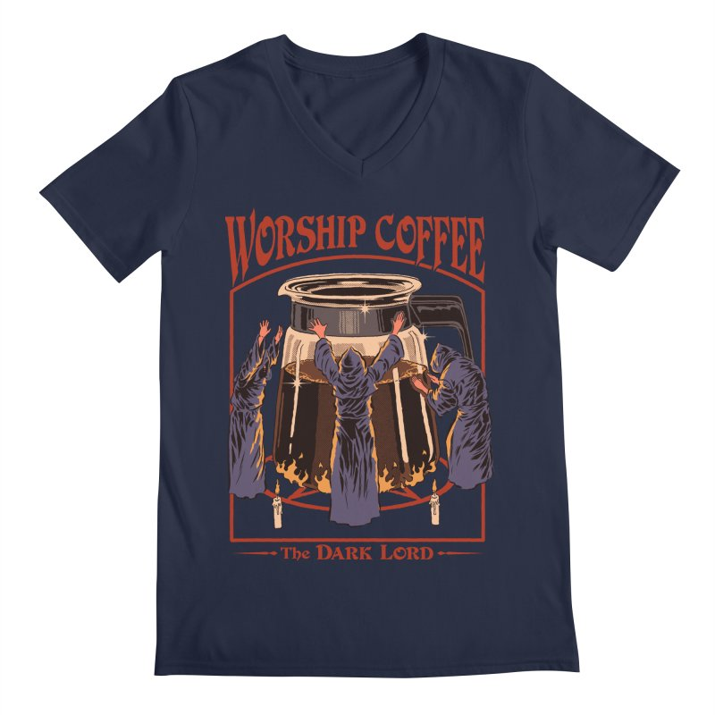 Worship Coffee Men's V-Neck by Steven Rhodes