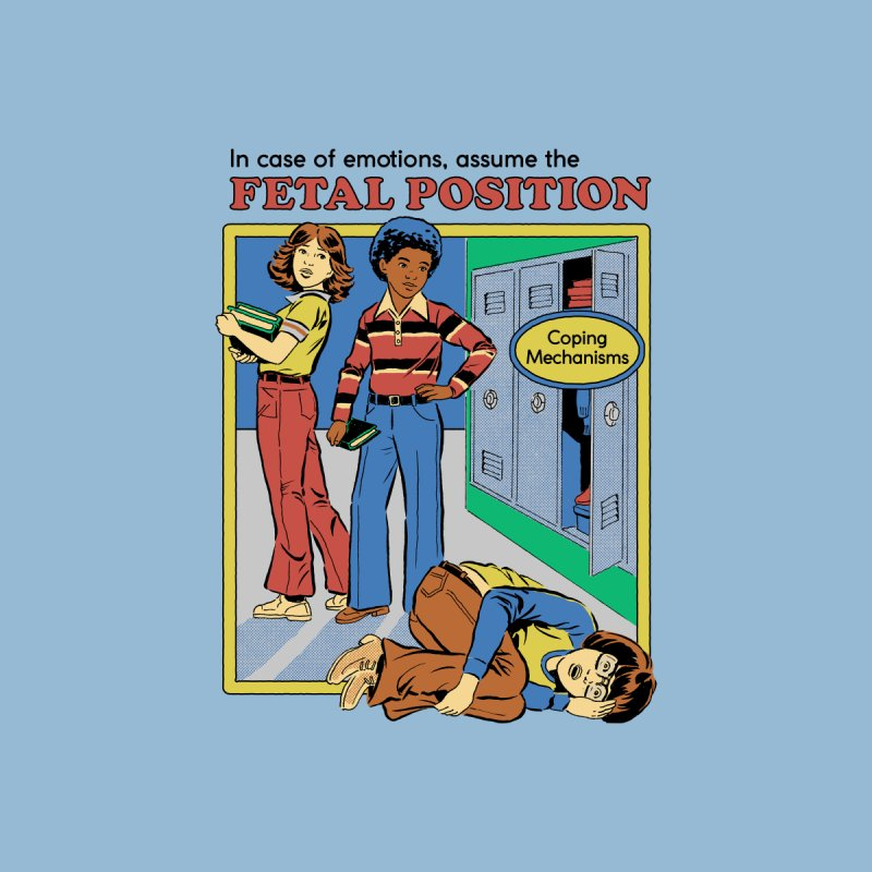 Assume the Fetal Position Kids T-Shirt by Steven Rhodes