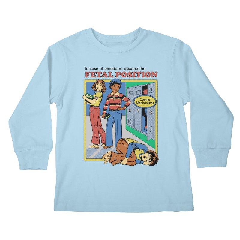 Assume the Fetal Position Kids Longsleeve T-Shirt by Steven Rhodes