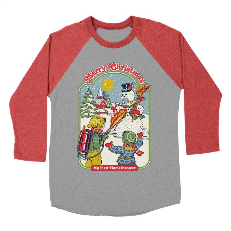 My First Flamethrower Men's Baseball Triblend Longsleeve T-Shirt by Steven Rhodes