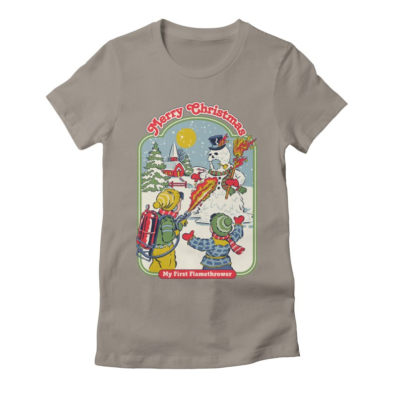 My First Flamethrower Women's Fitted T-Shirt by Steven Rhodes
