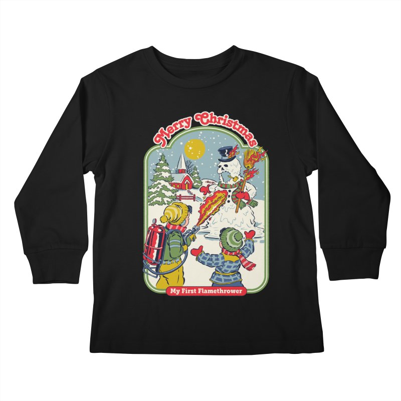 My First Flamethrower Kids Longsleeve T-Shirt by Steven Rhodes