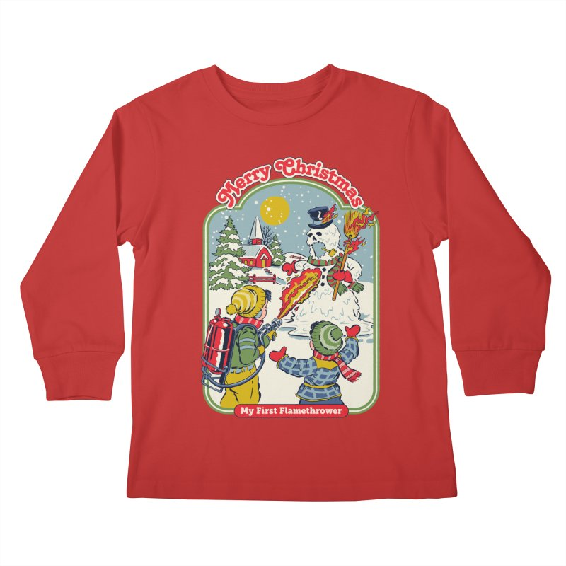 My First Flamethrower Kids Longsleeve T-Shirt by Steven Rhodes