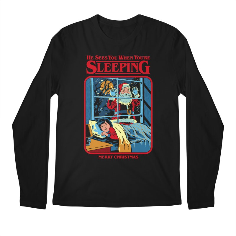 He Sees You When You're Sleeping Men's Regular Longsleeve T-Shirt by Steven Rhodes