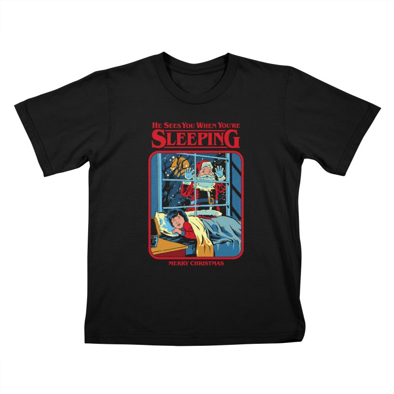 He Sees You When You're Sleeping Kids T-Shirt by Steven Rhodes