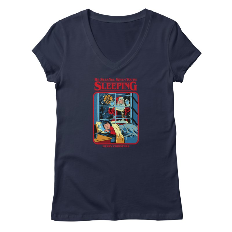 He Sees You When You're Sleeping Women's V-Neck by Steven Rhodes