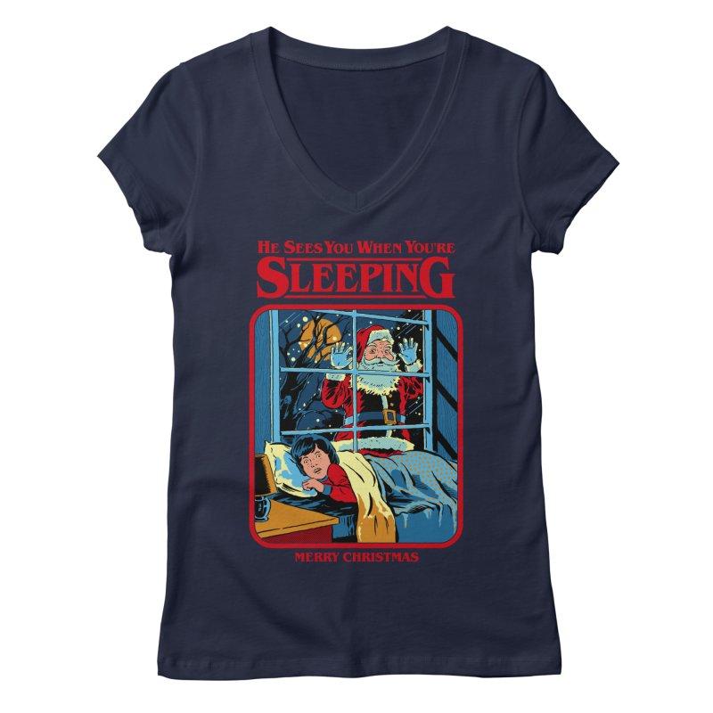 He Sees You When You're Sleeping Women's Regular V-Neck by Steven Rhodes