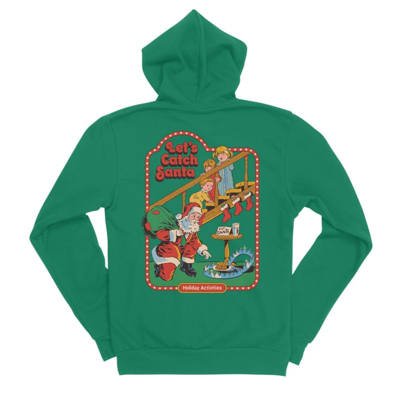 Let's Catch Santa Men's Sponge Fleece Zip-Up Hoody by Steven Rhodes