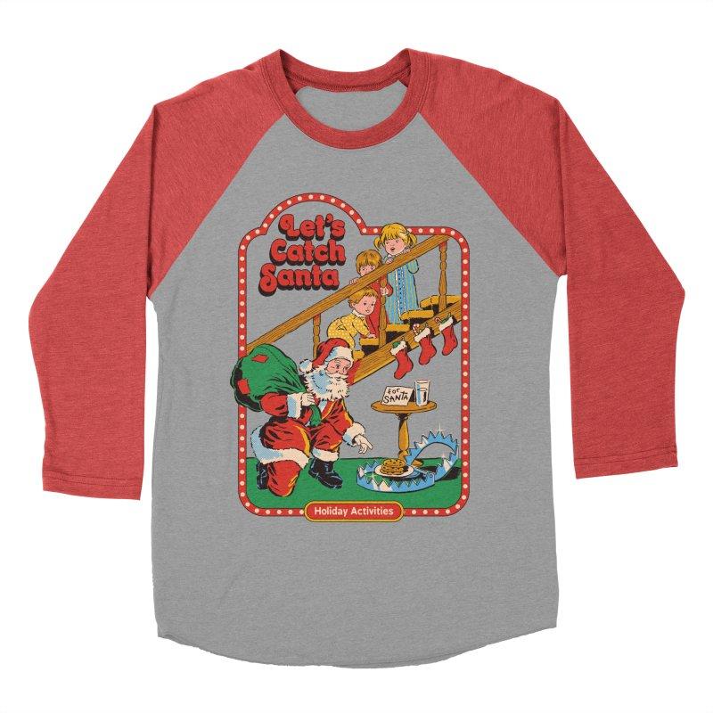 Let's Catch Santa Men's Baseball Triblend Longsleeve T-Shirt by Steven Rhodes