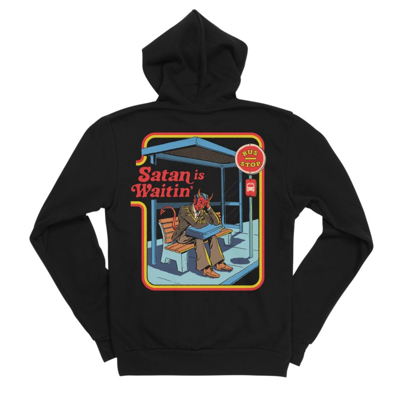 Satan is Waitin' Men's Sponge Fleece Zip-Up Hoody by Steven Rhodes