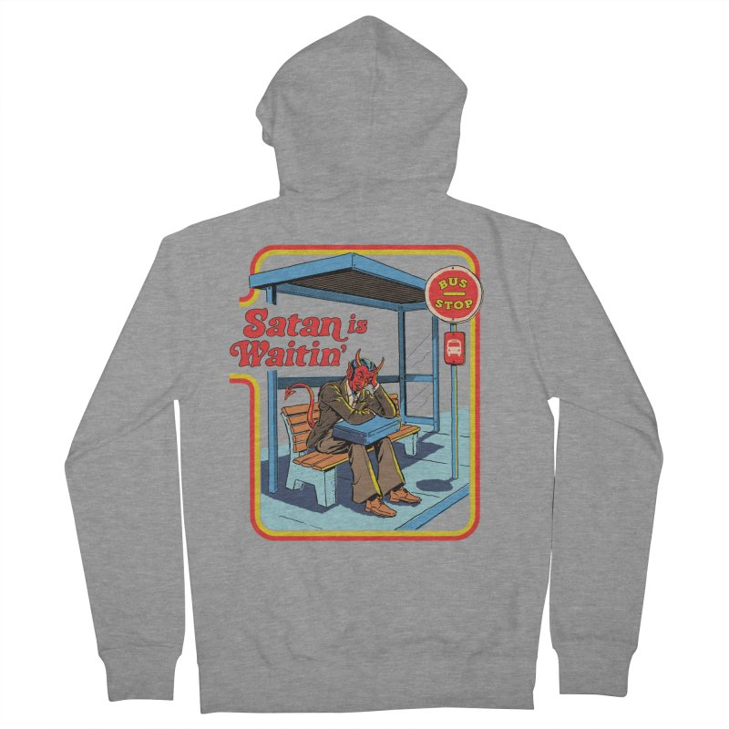 Satan is Waitin' Men's French Terry Zip-Up Hoody by Steven Rhodes