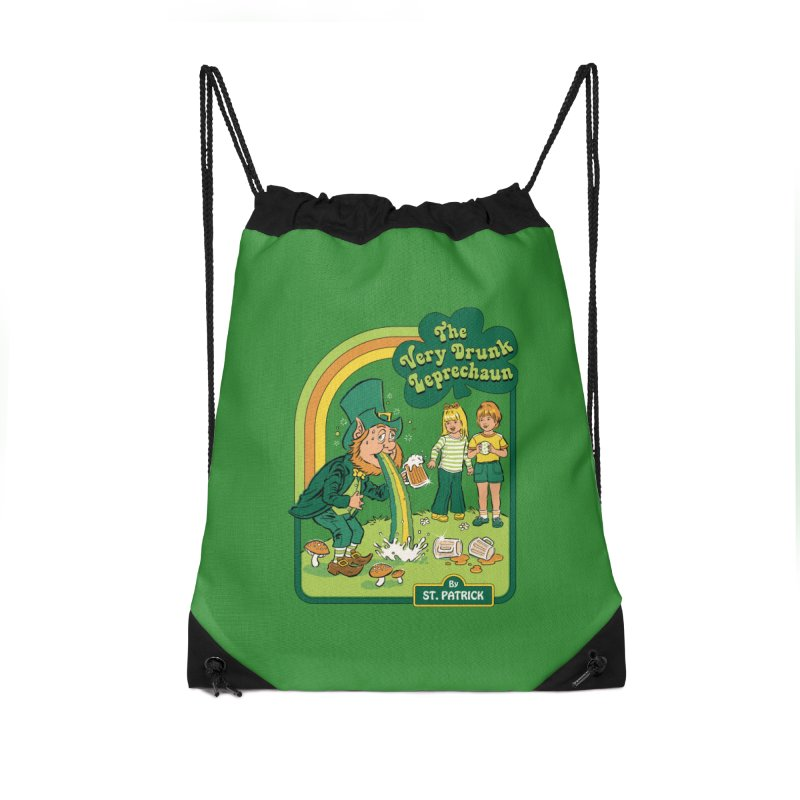 The Very Drunk Leprechaun Accessories Drawstring Bag Bag by Steven Rhodes