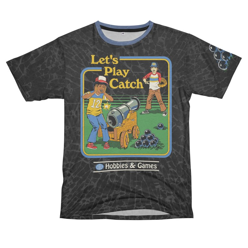 Let's Play Catch Men's French Terry T-Shirt Cut & Sew by Steven Rhodes