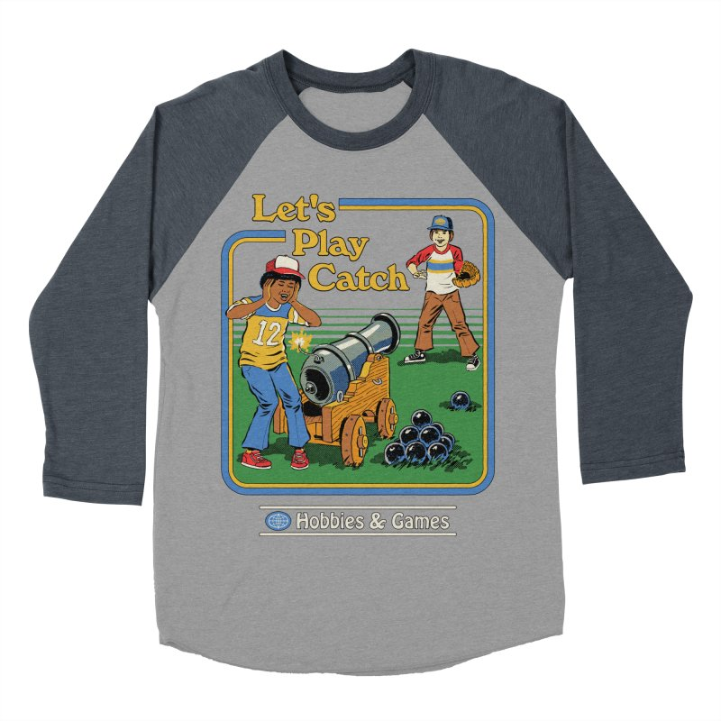 Let's Play Catch Men's Baseball Triblend Longsleeve T-Shirt by Steven Rhodes