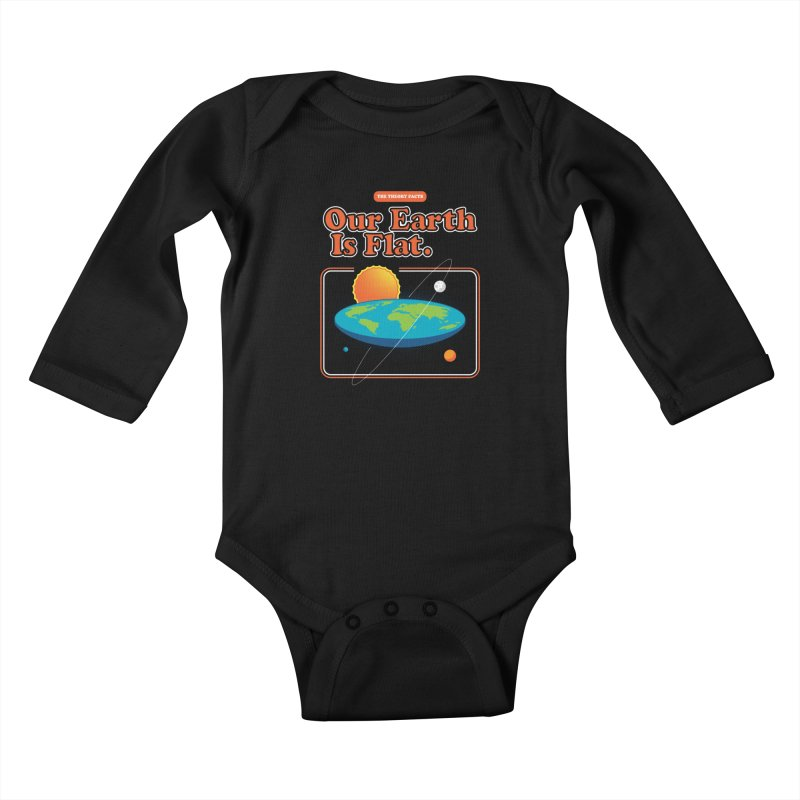 Our Earth is Flat Kids Baby Longsleeve Bodysuit by Steven Toang