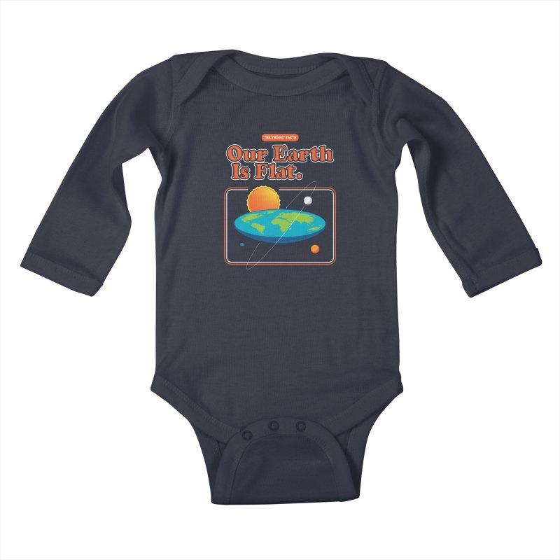 Our Earth is Flat Kids Baby Longsleeve Bodysuit by Steven Toang