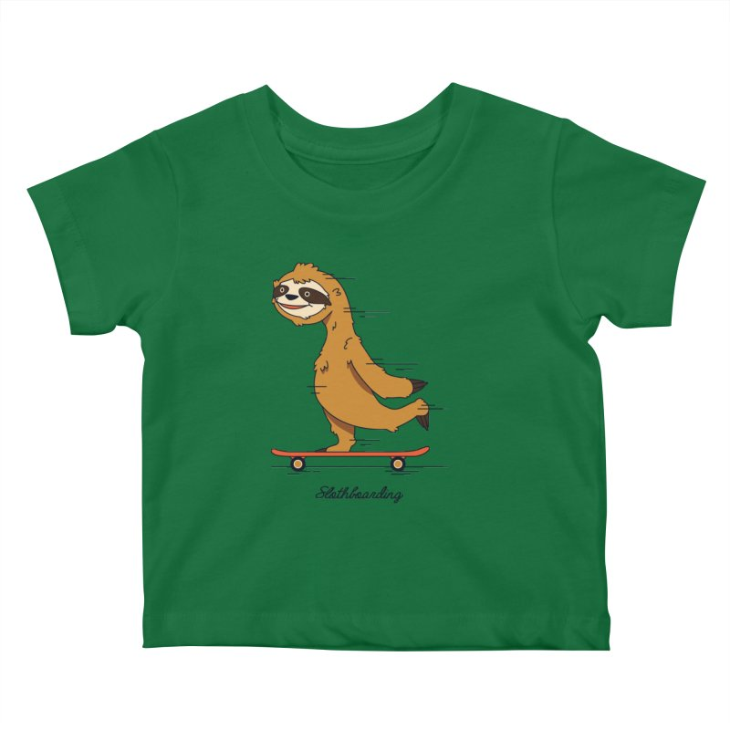 Slothboarding Kids Baby T-Shirt by Steven Toang