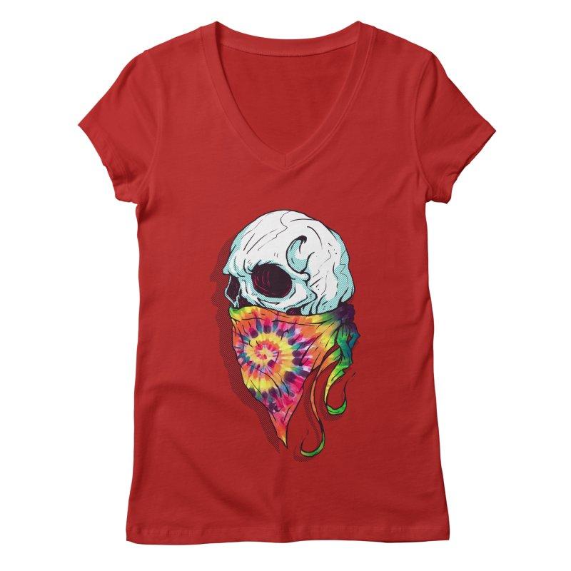 Skull Hipster Women's V-Neck by Steven Toang