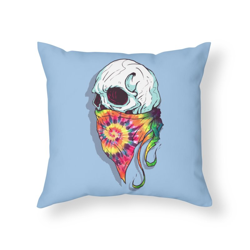 Skull Hipster Home Throw Pillow by Steven Toang