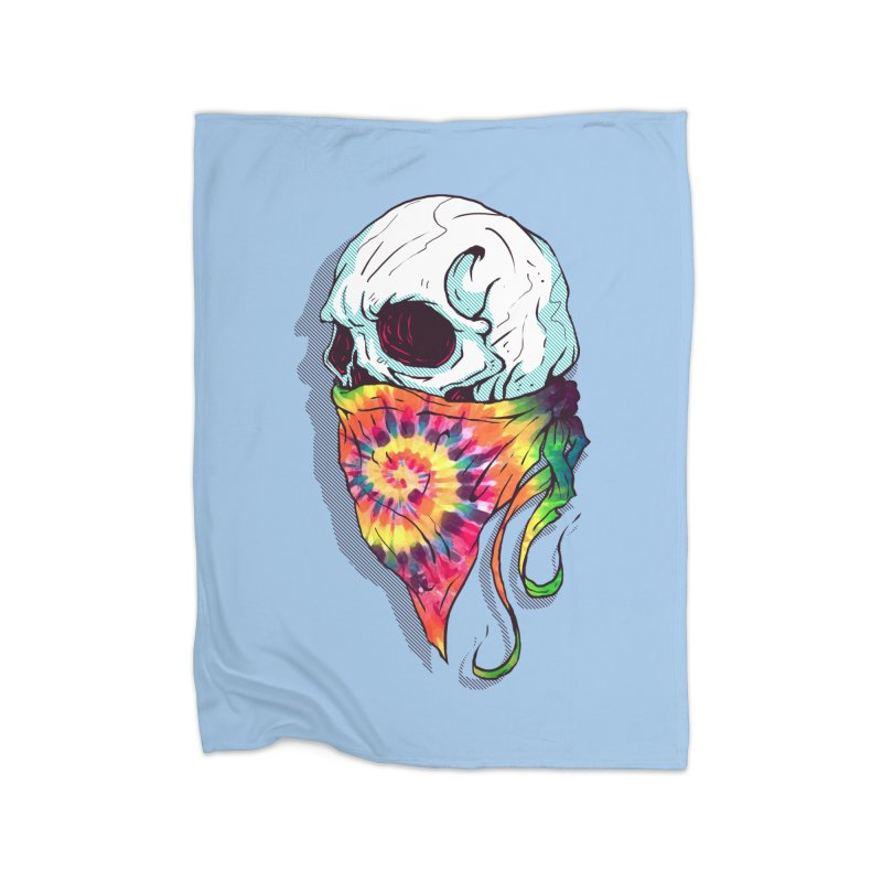 Skull Hipster Home Fleece Blanket by Steven Toang