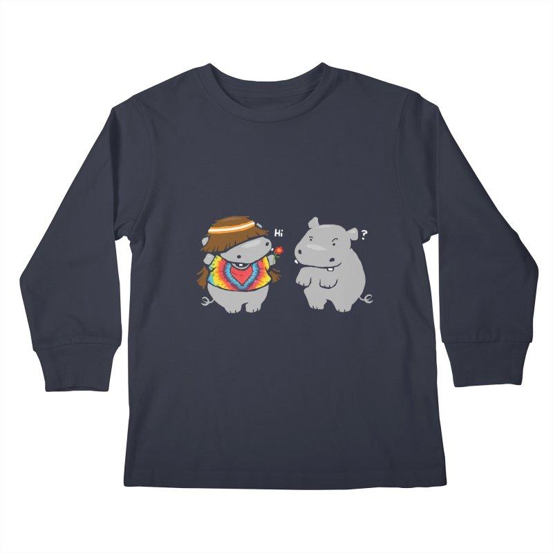 Hippypotamus Kids Longsleeve T-Shirt by Steven Toang