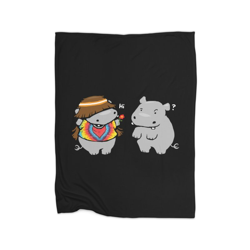 Hippypotamus Home Fleece Blanket Blanket by Steven Toang