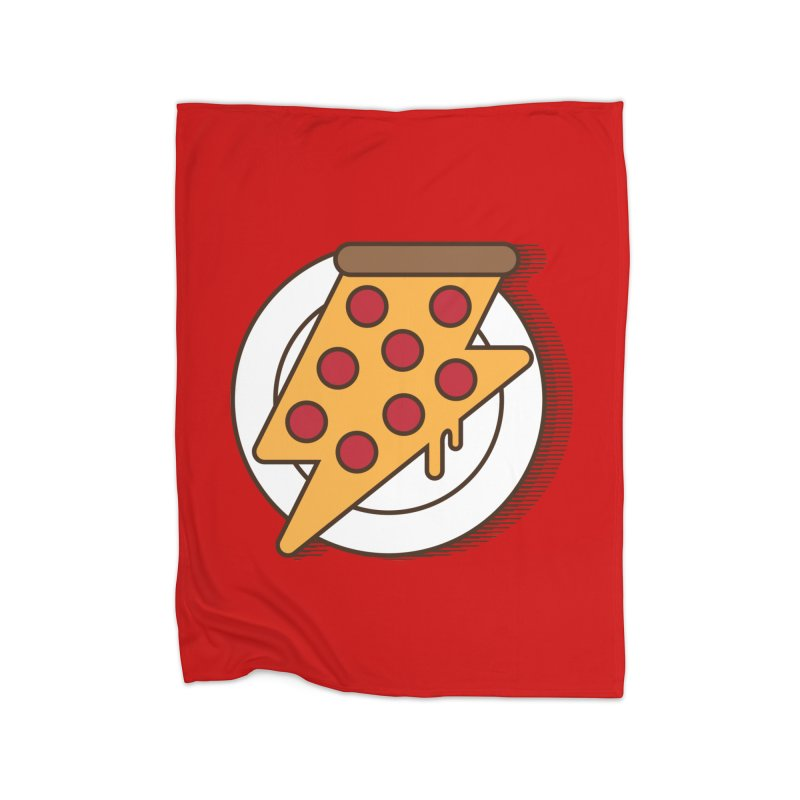 Fast Pizza Home Fleece Blanket Blanket by Steven Toang