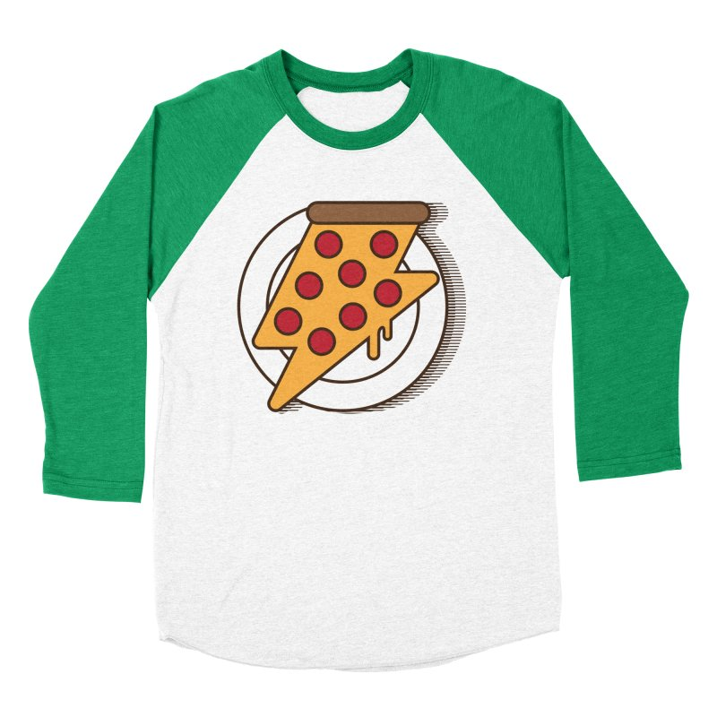 Fast Pizza Women's Baseball Triblend T-Shirt by Steven Toang