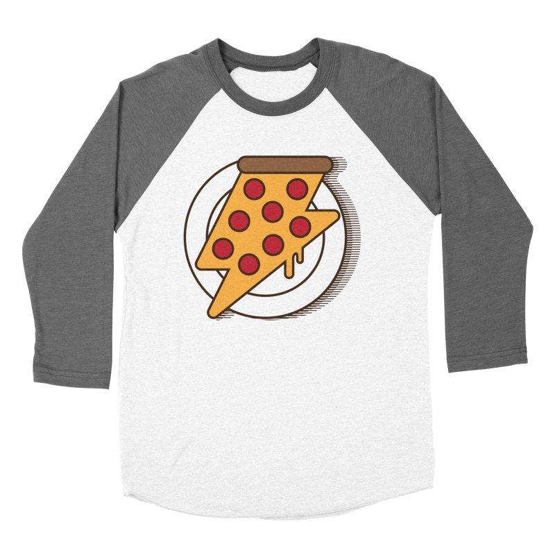 Fast Pizza Men's Baseball Triblend Longsleeve T-Shirt by Steven Toang