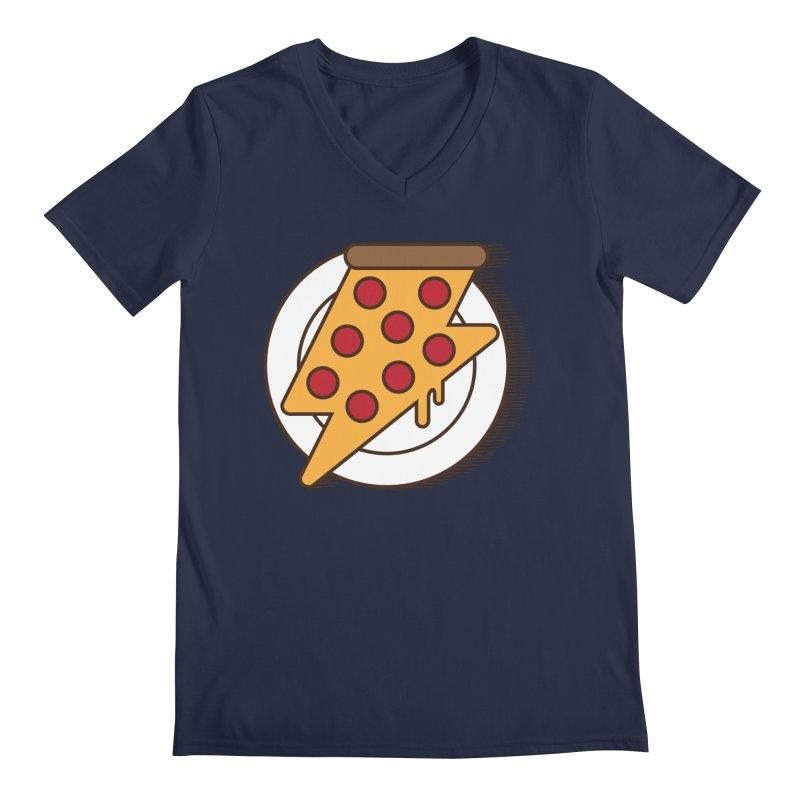 Fast Pizza Men's V-Neck by Steven Toang