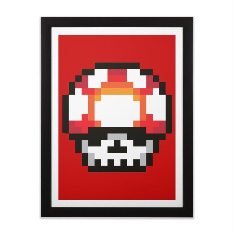 Pixel mushroom Home Framed Fine Art Print by Steven Toang