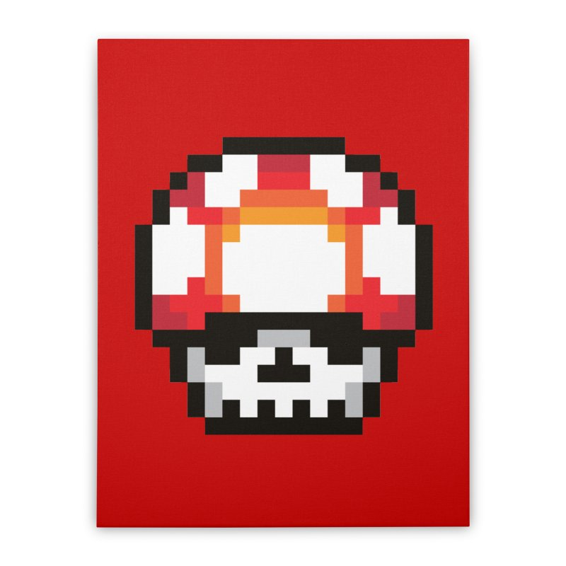 Pixel mushroom Home Stretched Canvas by Steven Toang