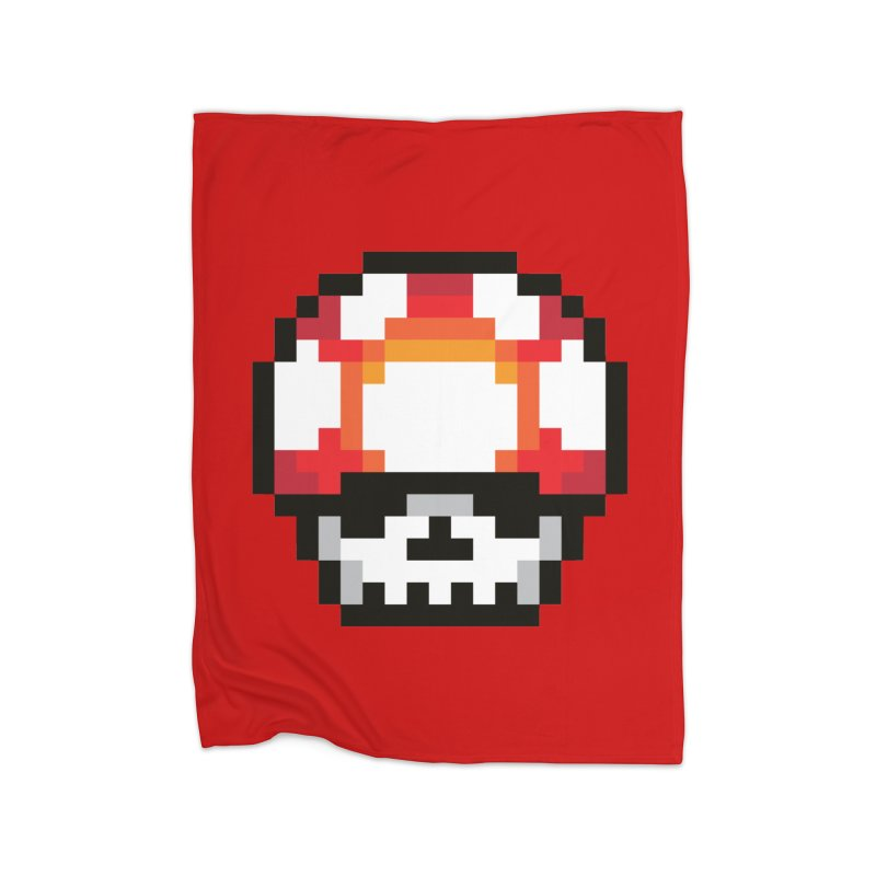 Pixel mushroom Home Fleece Blanket by Steven Toang